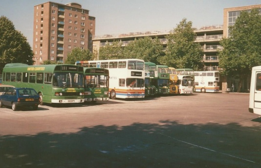 United Counties buses in the layover space at Bedford, 1989. The corporate image of Stagecoach is slowly creeping in.... Stagecoach