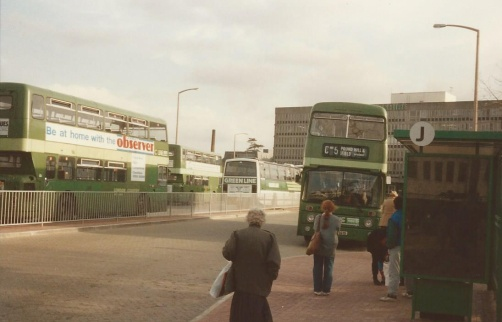 The second Crawley Bus Station shortly after opening in 1990.