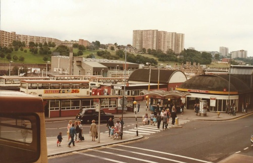 The extensive bus station at Sheffield in 1985.