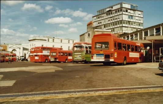 The 'nose-in' bays at Southampton Bus Station, 1983