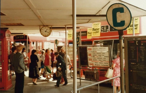 The boarding bays at Southampton Bus Station in 1983, four years before closure.