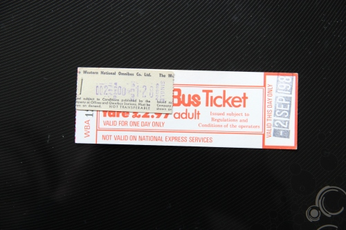 A 'Wanderbus' ticket from 2nd September 1982 purchased from Devon General in Paignton for a trip via Buckfastleigh and Plymouth to Saltash. The attached ticket is where I had to pay for a 2p day return (even though it's printed as 'single') as a 1p each-way supplementary fare to cover the Tamar Bridge tolls into and out from Cornwall!