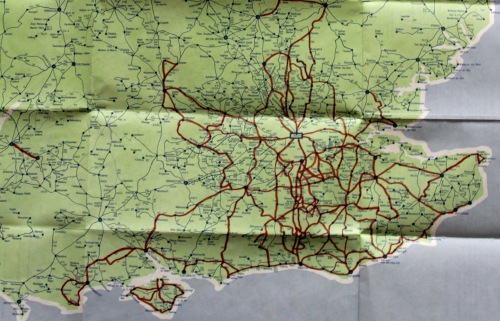 My copy of the map with my 'Wanderbus' journeys lined in red. All of these were completed as days out from Crawley.