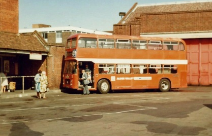 An Alder Valley Bristol VRT arrives at Winchester Bus Station from Guildford on route 214.